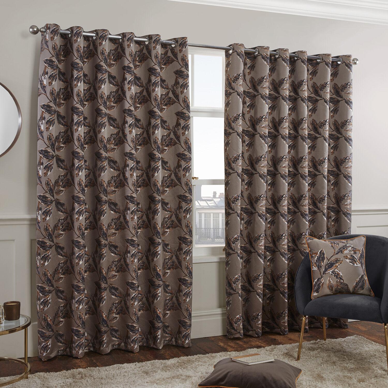 sophie jacquard floral curtains bronze 114462