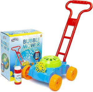 bubble lawn mower toy kit, mower, solution and box