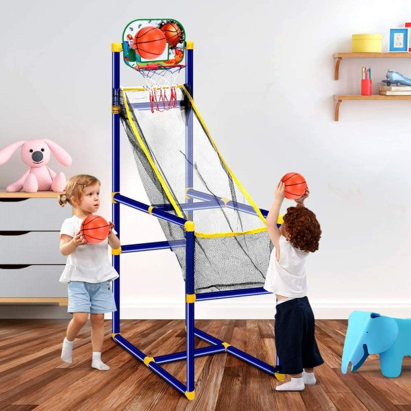 kids playing basketball in their bedroom