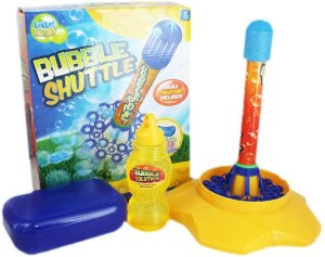 Bubble Shuttle Rocket in yellow stand, next to box and bubble solution
