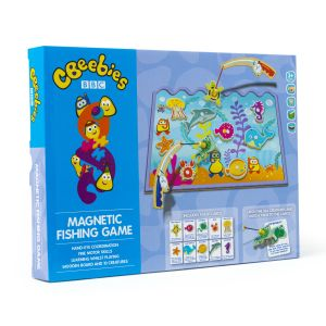 Cbeebies Wooden Magnetic Fishing Game & Flash Cards in box sea life magnets and fishing rods