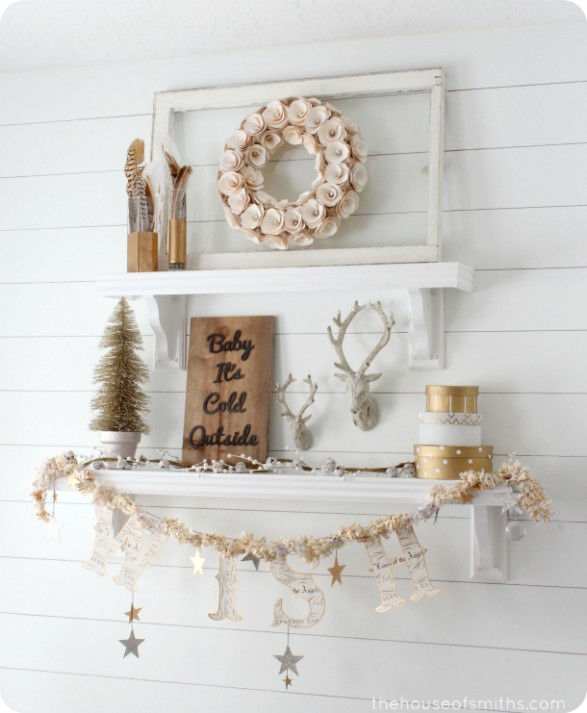 50 Winter Decorating Ideas winter decorating gold shelves