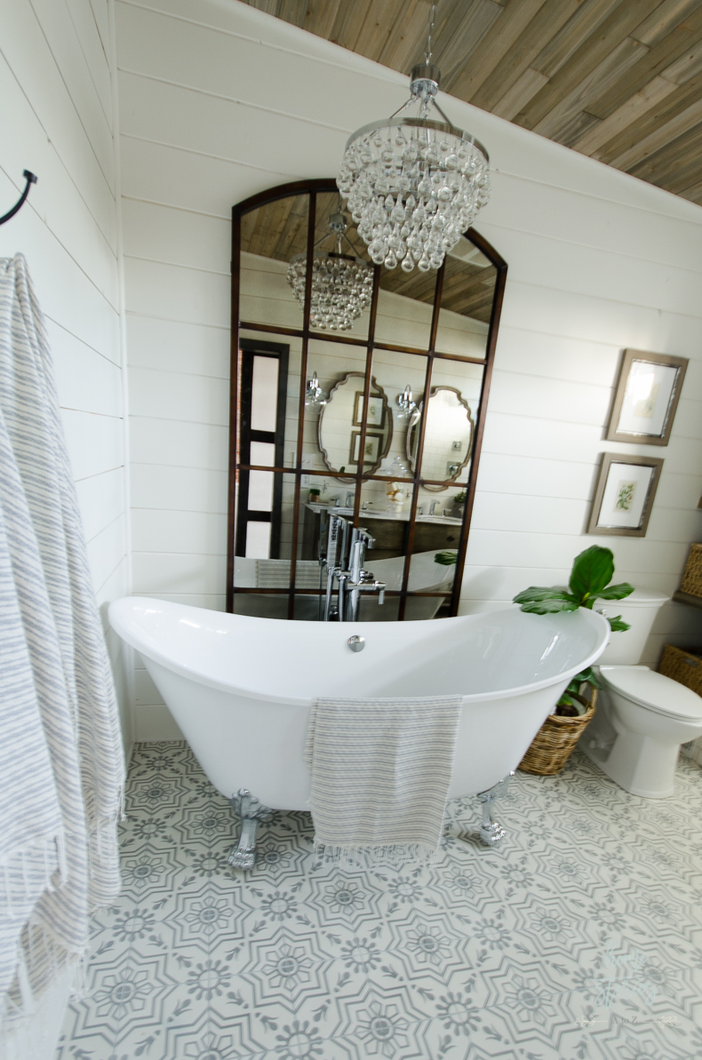 Beautiful Urban Farmhouse Master Bathroom Remodel on Farmhouse Bathroom Ideas  id=37976