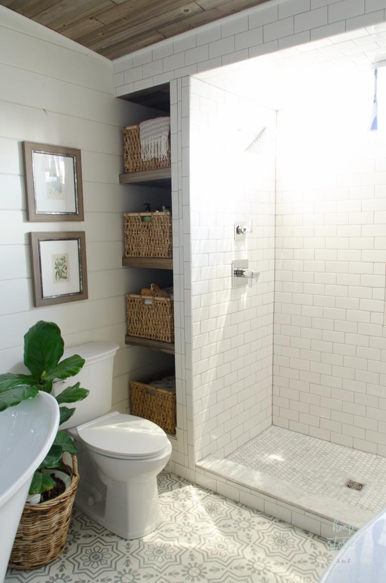 How to Build Bathroom Shelves Next to Shower on Farmhouse Shower Ideas  id=46783