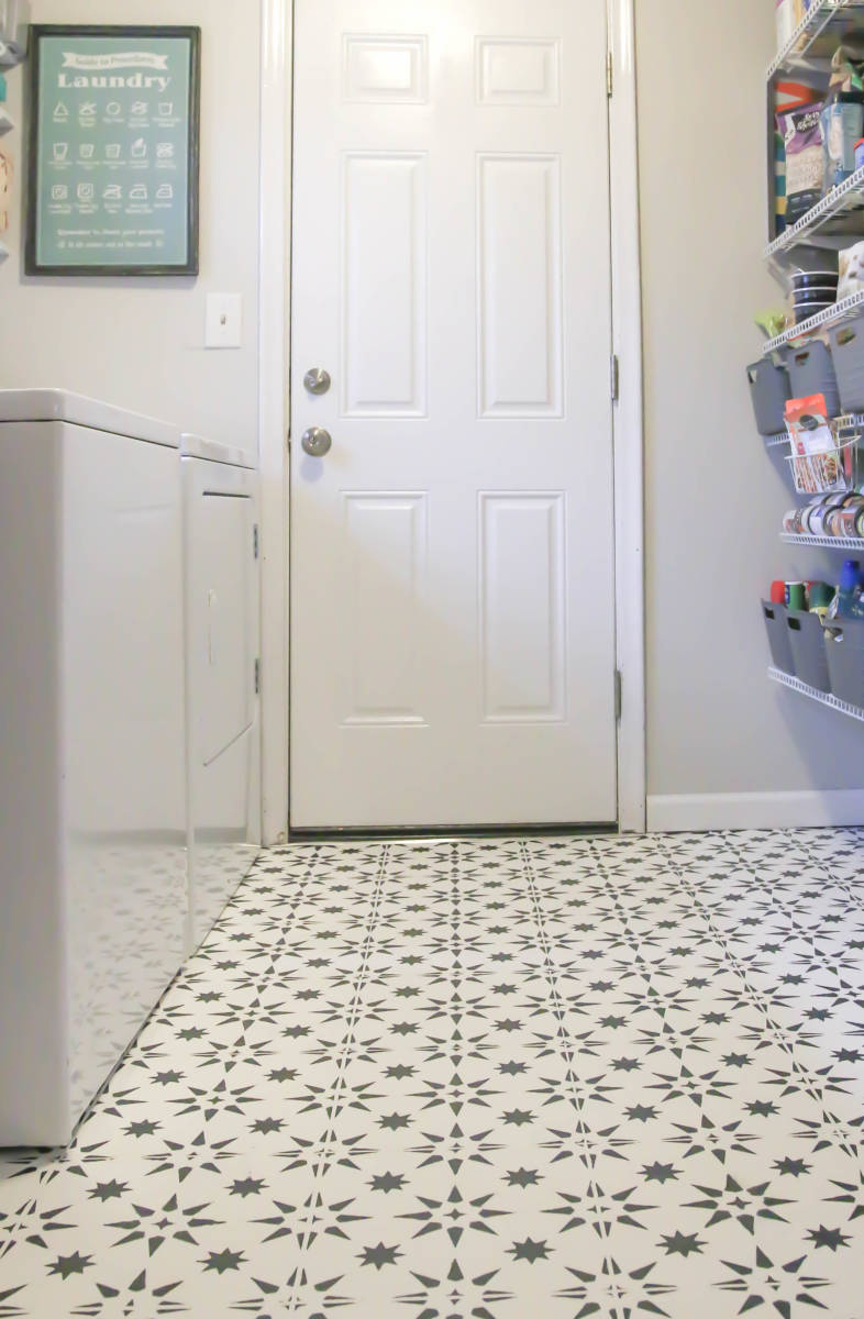 25 stenciled and painted floor tiles on paint for laundry room floor ideas images id=18814