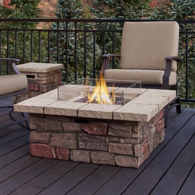 13w brick facade propane patio fire pit table