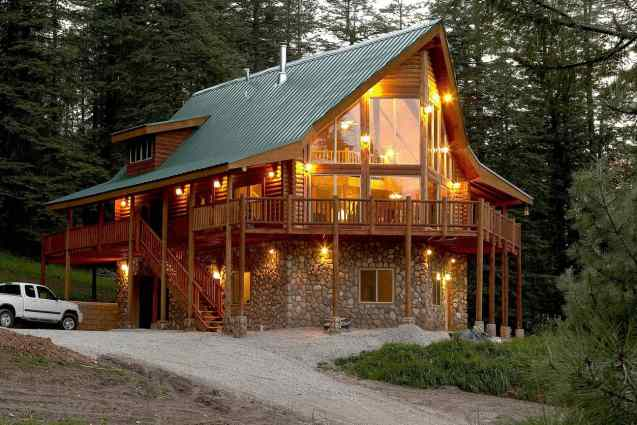 Log cabin in a New Mexico forest.