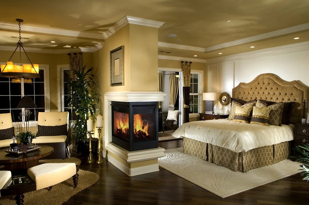 115 master bedroom with a fireplaces for 2018