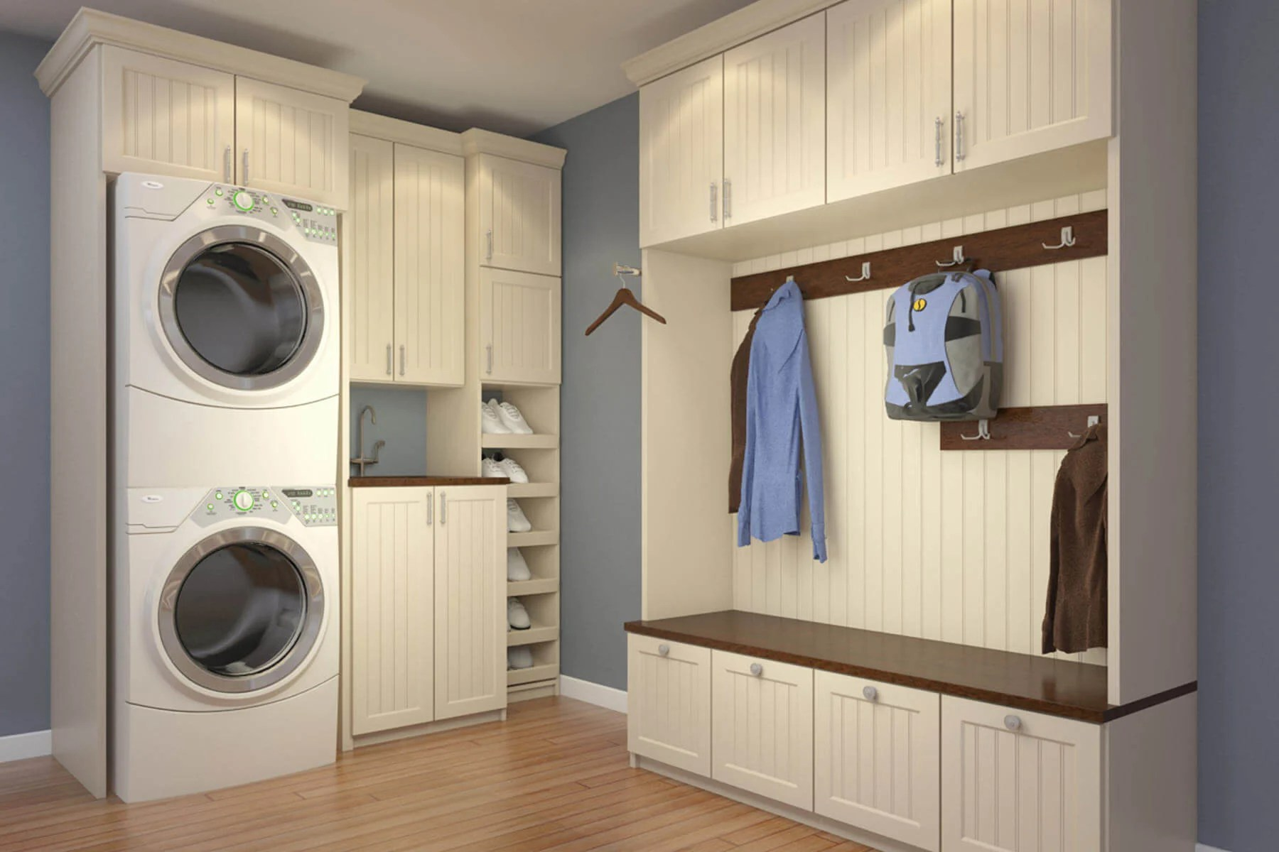 85+ Big & Small Laundry Room Ideas & Designs (with Storage) on Small Laundry Room Cabinets  id=66854