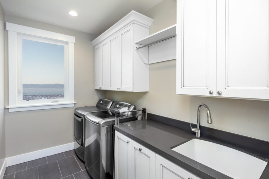 65+ Laundry Rooms with Side-by-Side Washer and Dryer ... on Laundry Cabinets Ideas  id=95424
