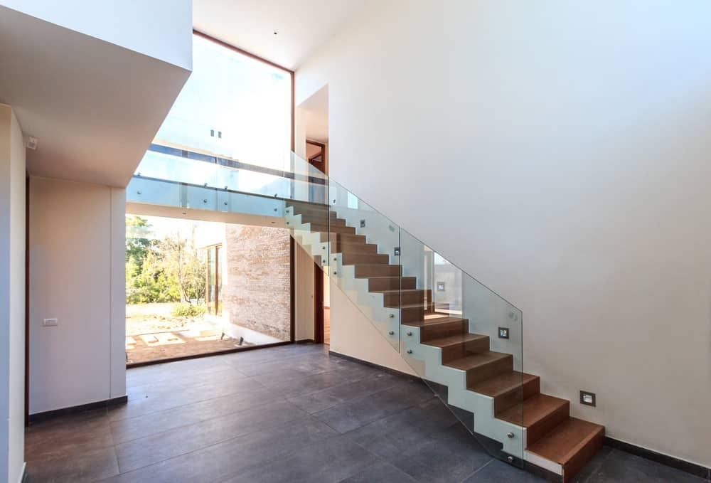 50 Straight Staircase Ideas Photos   Wooden Staircase With Glass   Oak   Glass Design Golden   Tempered Glass   Unusual Interior   Detail