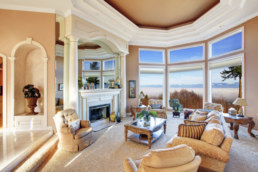 Living room with carpet and gorgeous view.