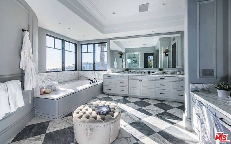401 Custom Bathroom Ideas for 2018 Contemporary gray and white bathroom design with tray ceiling