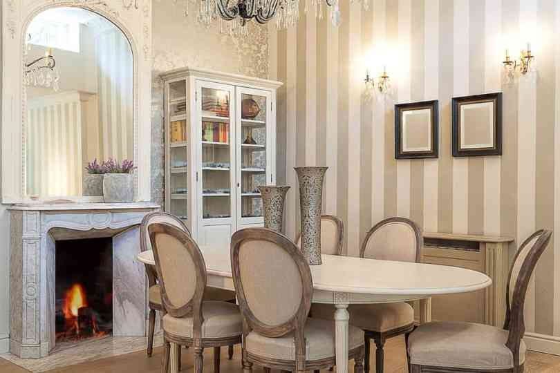 Beige and cream dining room.