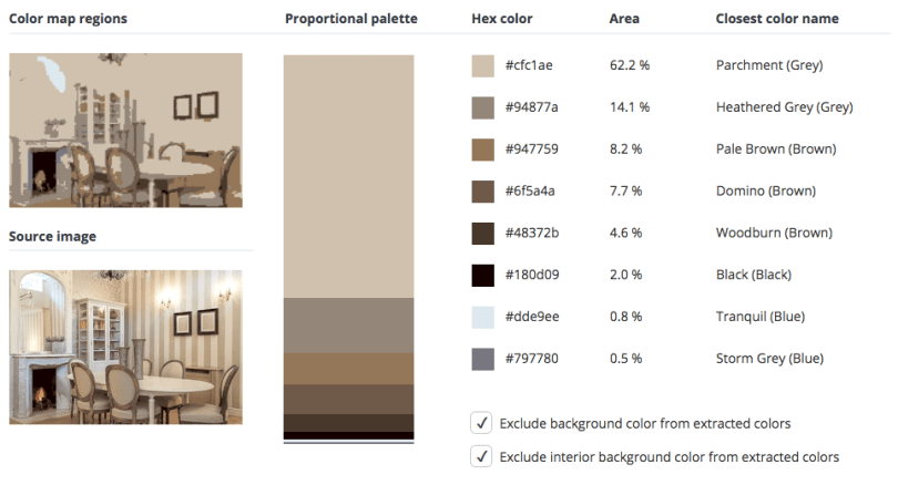 Beige combined with grey, brown and a few touches of black and blue.