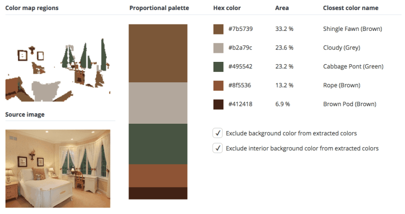 Beige combined with brown and a touch of grey and green.