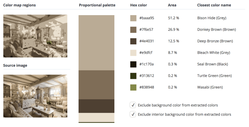Beige combined with grey, brown and a touch of black and green.