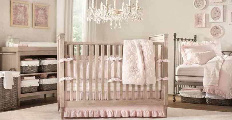 Beige and pink nursery.