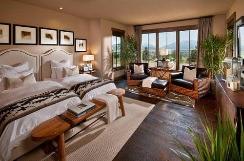 Beige Southwestern bedroom.