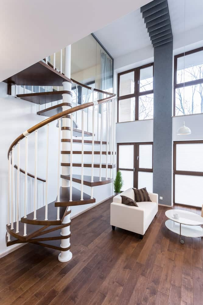 50 Cool Modern Staircase Ideas Photos | Mid Century Modern Stair Handrail | Wrought Iron | Basement | Bannister | Modern Style | Contemporary Curved Staircase