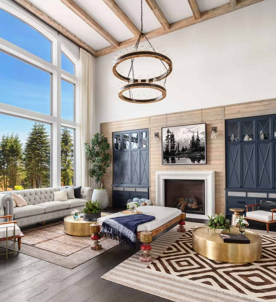 Great functional mountain view living space, fireplace and numerous upgrades including granite countertops, upgraded cabinets, wood beams in living room, shiplap wall in dining room, hardwoods on. 101 Living Rooms with Exposed Ceiling Beams (Photos)