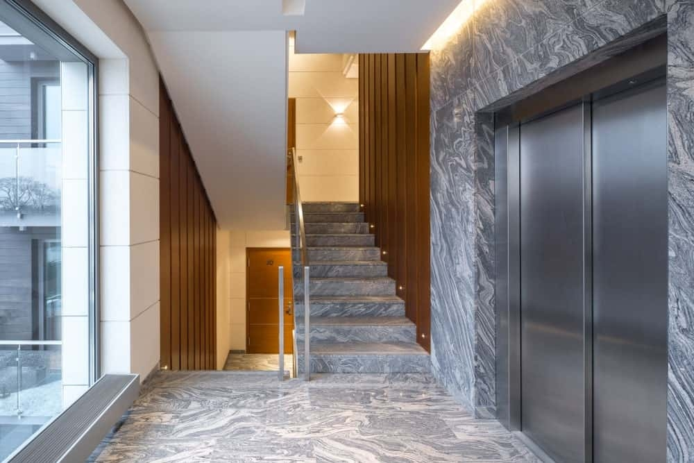 50 Staircases With Tile Flooring Photos | Floor Tiles Design For Stairs | Hallway Floor Tile | Stair Landing | House | Stair Riser | Wall