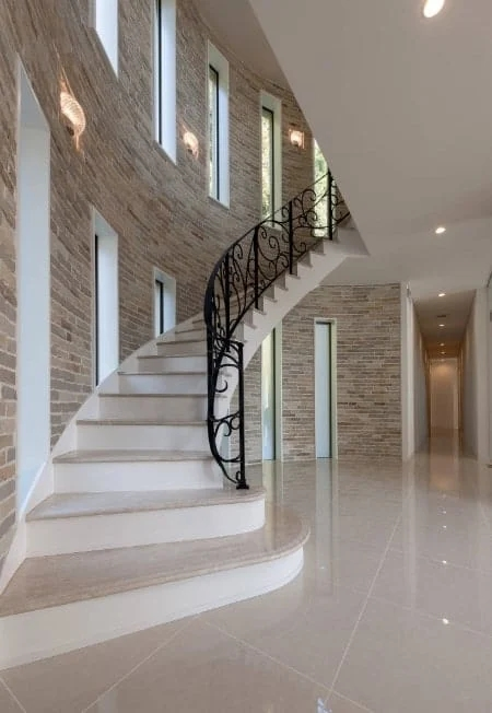 50 Staircases With Tile Flooring Photos | Stairs Wall Tiles Design | Main Entrance Wall Tile | Exterior | Two Story House Stair | Wall Flat | Residential