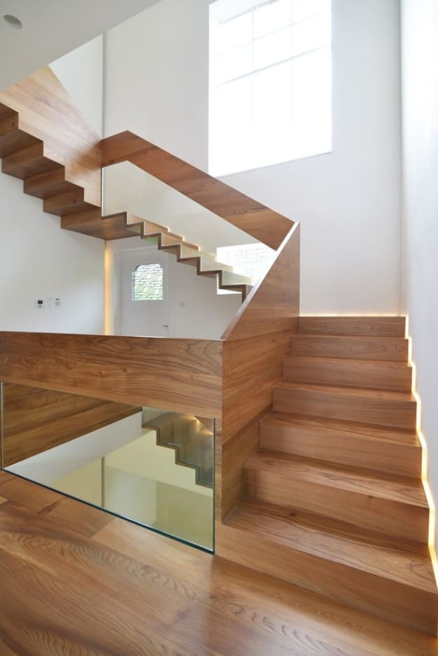 40 Three Quarter Turn Staircase Photos | Glass Balustrade With Wooden Handrail | Contemporary | Glass Panel | Interior | Guardrail | Atrium