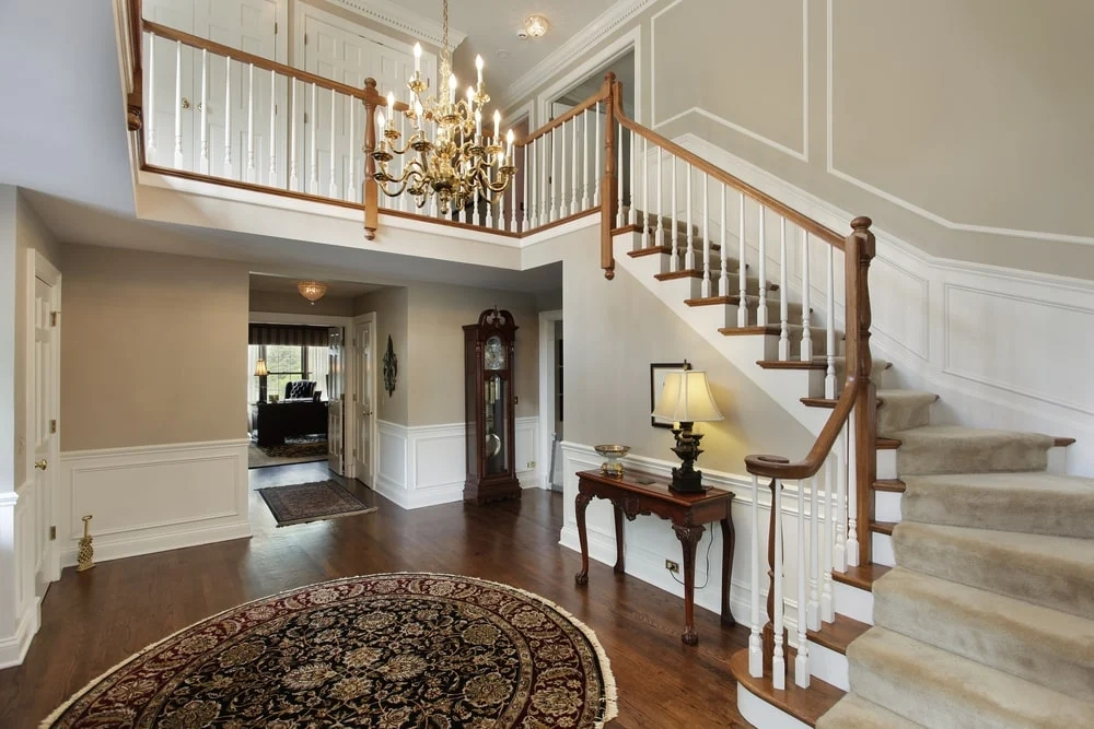 101 Staircase Design Ideas Photos   Two Story House Stair Design   Upstairs   Mansion   Small Space   Front Entrance   Double Door Main Hall Door