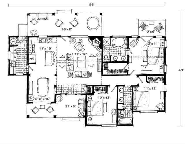 Bir oturma odası, mutfak, yemek odası, yardımcı odası, üç yatak odası ve arka güverteleri olan 3 yatak odalı tek katlı bir Cherokee kabin evinin tüm kat planı.