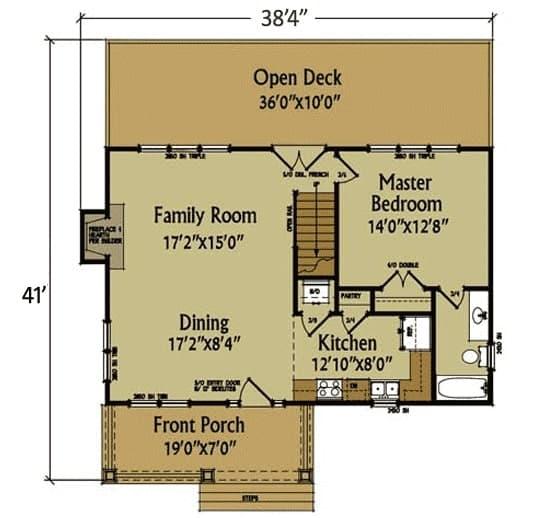Ön ve arka sundurma, aile odası, yemek odası, mutfak ve ana süit içeren 4 yatak odalı iki katlı bir kabin evin ana kat planı.