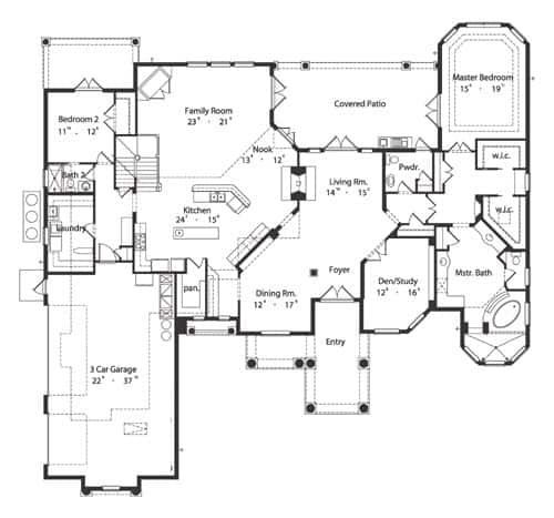 Yemek odası, oturma odası, çalışma odası, aile odası, kahvaltı köşesi olan mutfak, çamaşırhane ve ana süit dahil iki yatak odası bulunan 4 yatak odalı iki katlı İspanyol tarzı bir evin ana kat planı.
