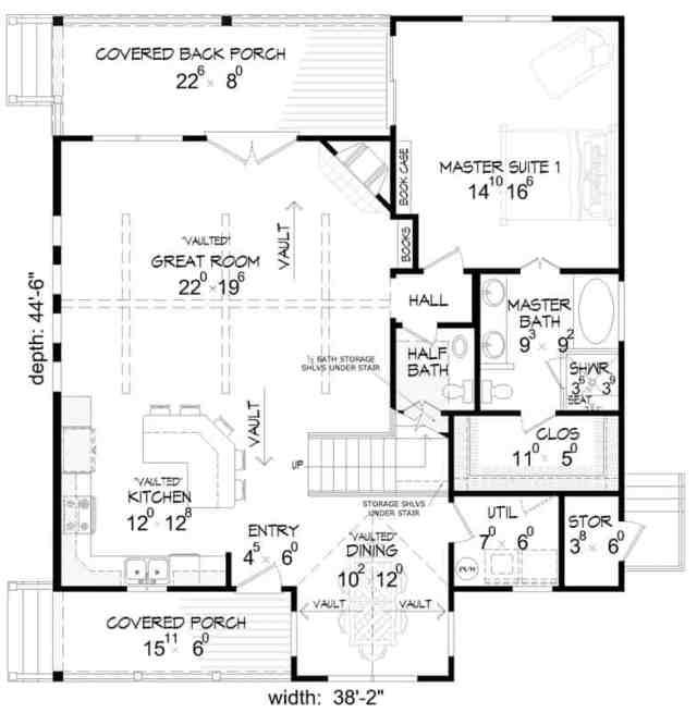 Büyük oda, mutfak, yemek alanı ve arka sundurma erişimine sahip birincil süit içeren iki katlı 3 yatak odalı bir kır kabininin ana kat planı.