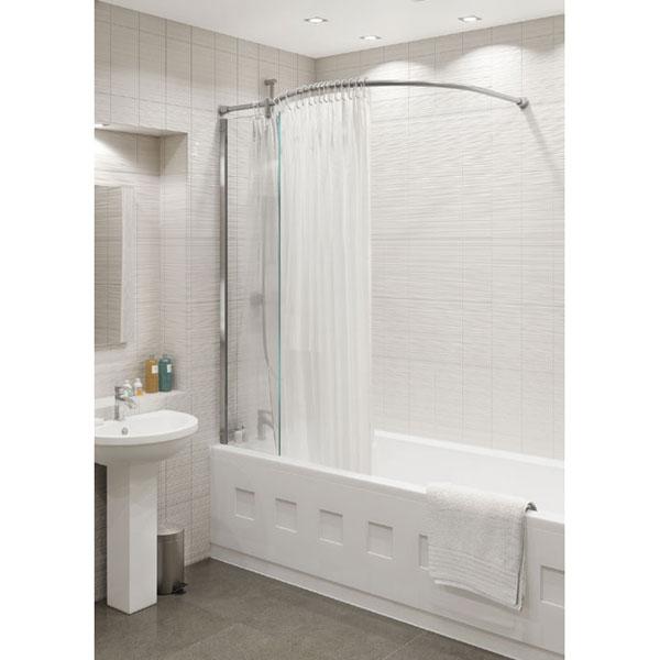 kudos inspire over bath shower panel with shower curtain rail corner