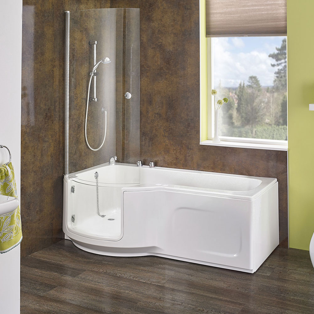 Indiana 1700 Easy Access Walk In Shower Bath With Glass Door And Bath Screen Acccindia1700 1