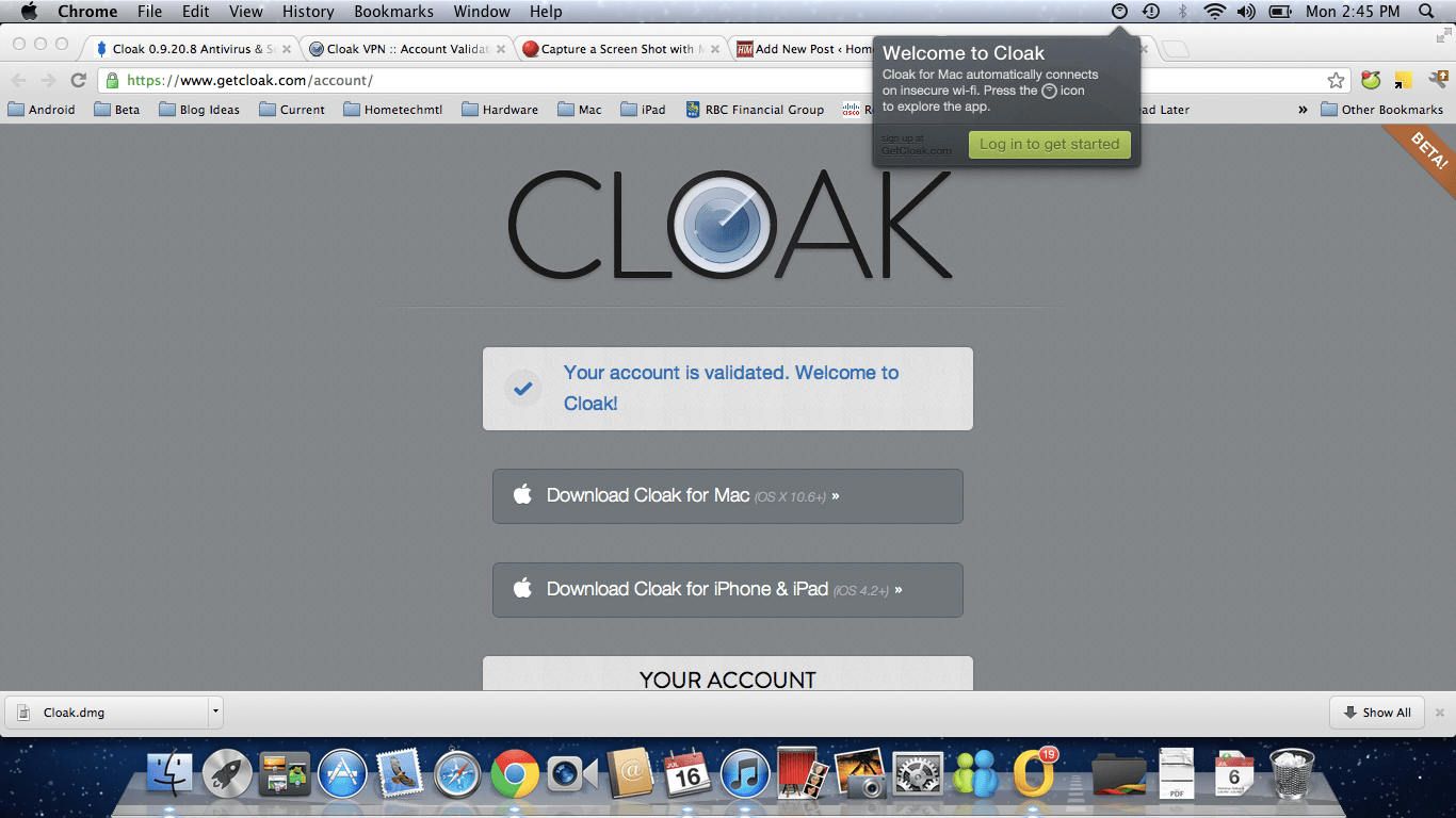 Mac Apps: Cloak - Free VPN protection for WiFi away from home