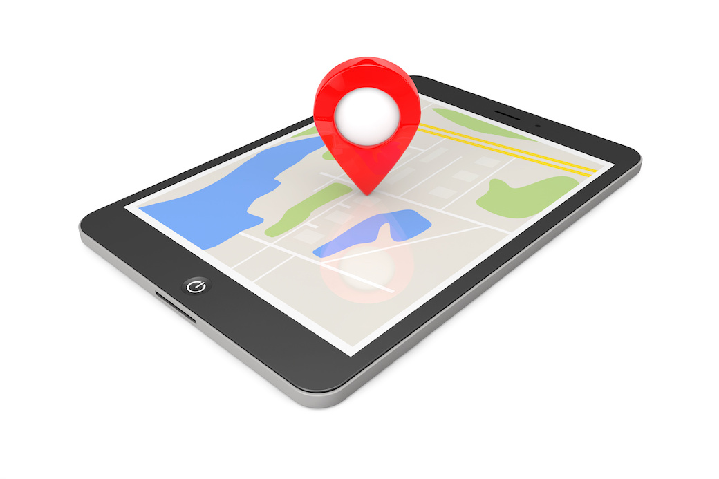 Navigation via Tablet PC. Location Pointer on Tablet PC with Map. 3d Rendering