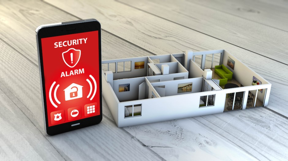 security alarm smartphone with flat mock-up