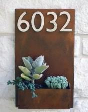 Numeração de casa e vaso em aço corten | via Etsy