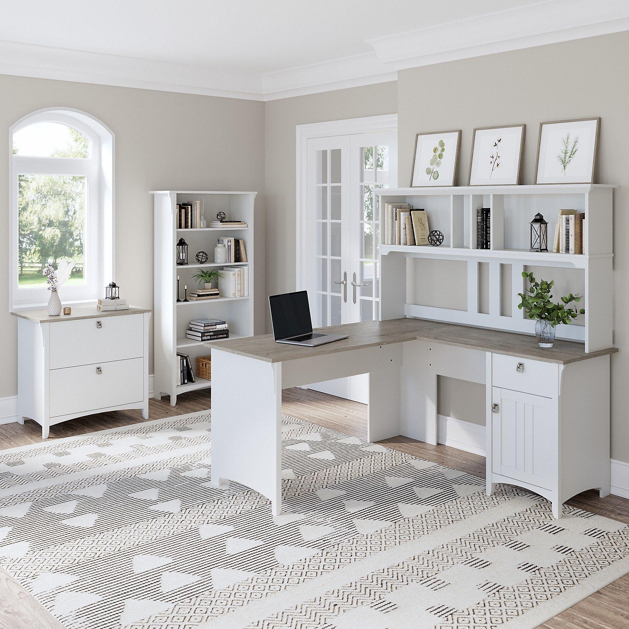 Bush Furniture Salinas 60W L Shaped Desk with Hutch ... on Corner Sconce Shelf Cabinet id=84938