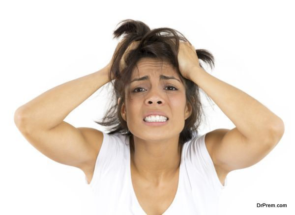 Worried Woman Over White Background