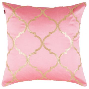 palace life ogee polyester cushion covers in pink colour by living essence