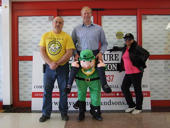 John Maloney, Andrew Howard and his leprechaun and Maria Maloney