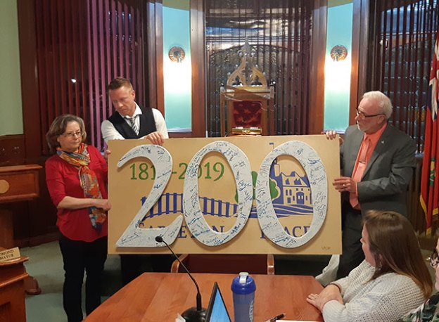 A large wall-mountable artwork crafted by Diane (manager of the Creative Studio on Bridge St) to commemorate the town's 200th anniversary.
