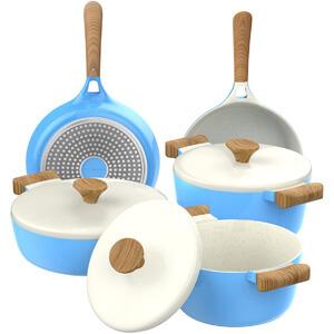 Vremi 8 Piece Ceramic Nonstick Cookware Set