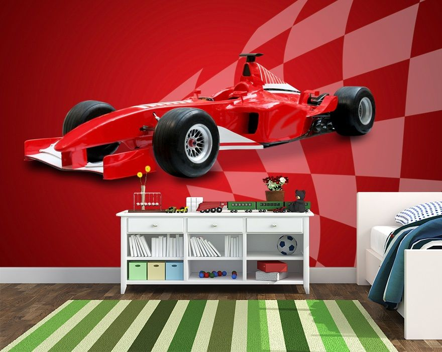 With living room wallpaper, consider the size of a room. Wallpaper For Kids Bedroom Wall Red Sports Car