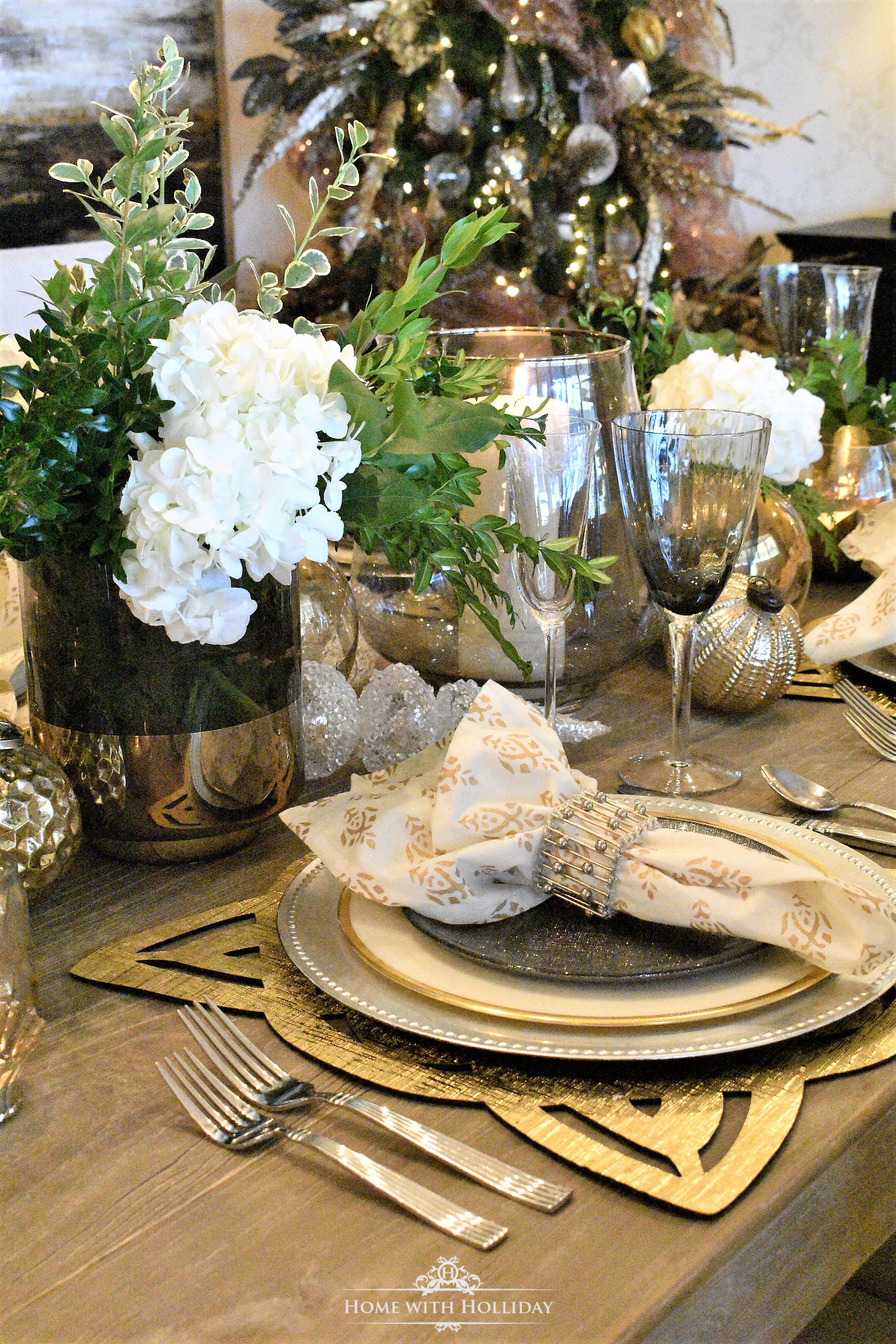 Flowers for Gold and Silver Table Setting Centerpiece