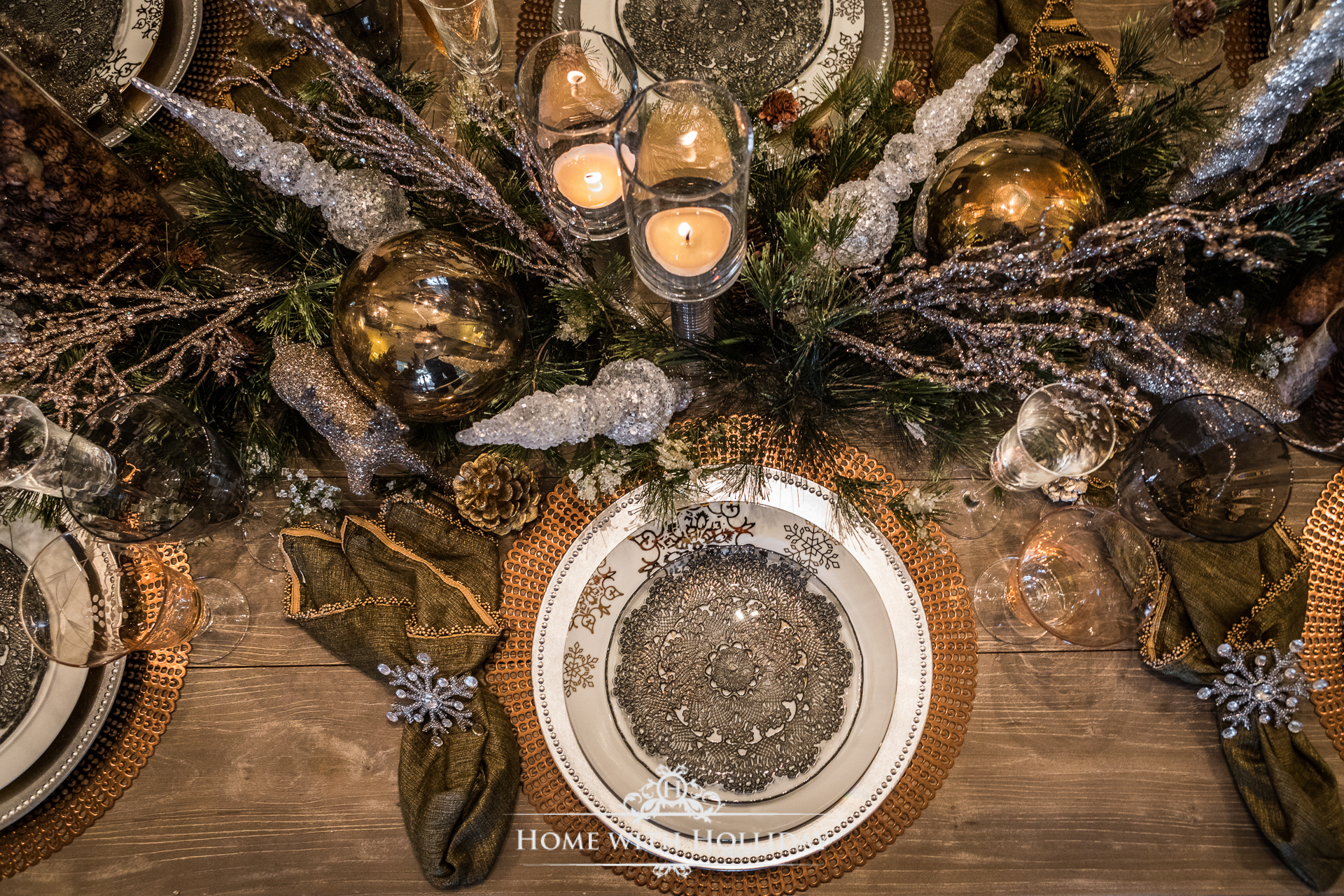 Winter Glam Dining Room Christmas Table Place Setting