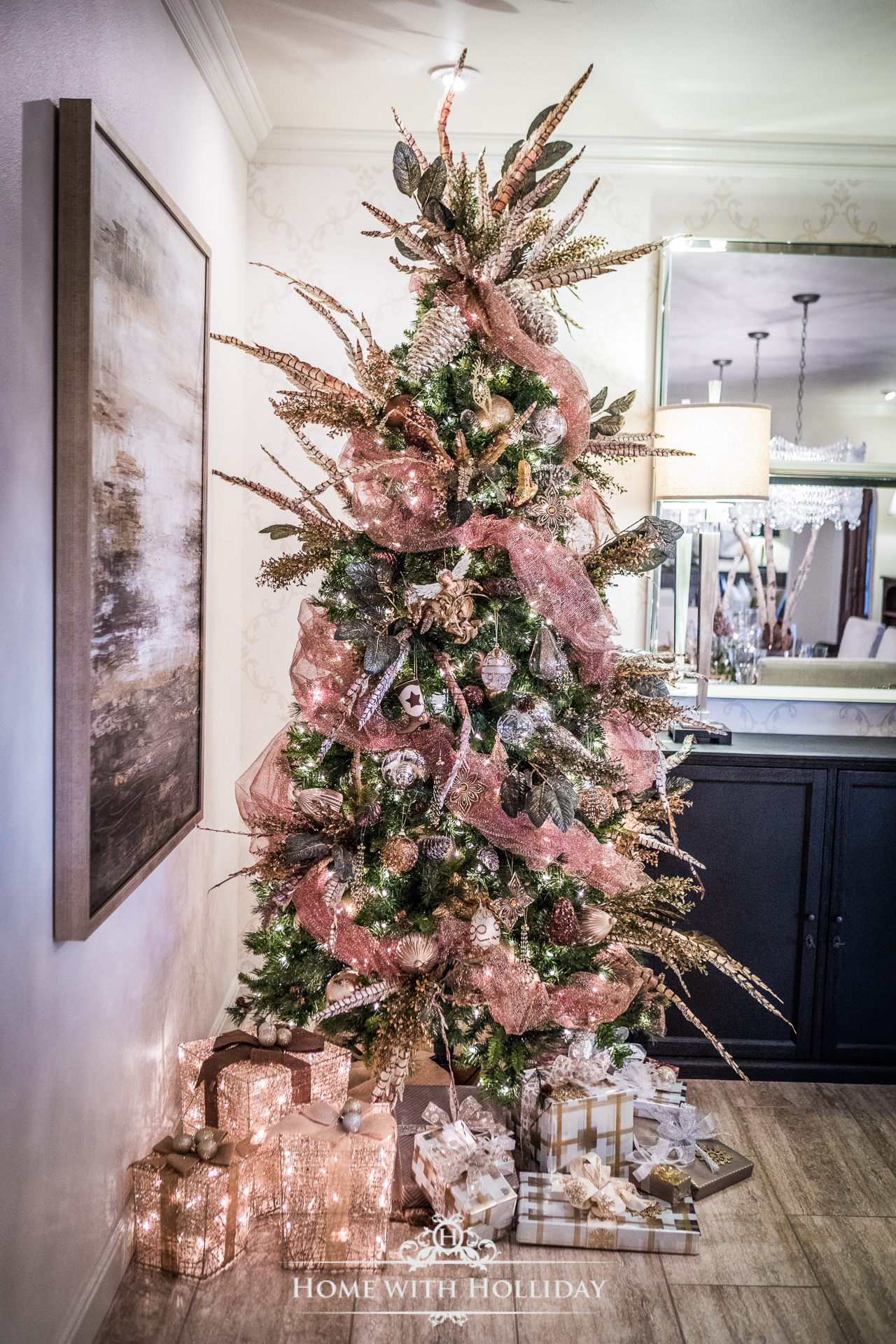Christmas Tree in Rustic Glam Dining Room