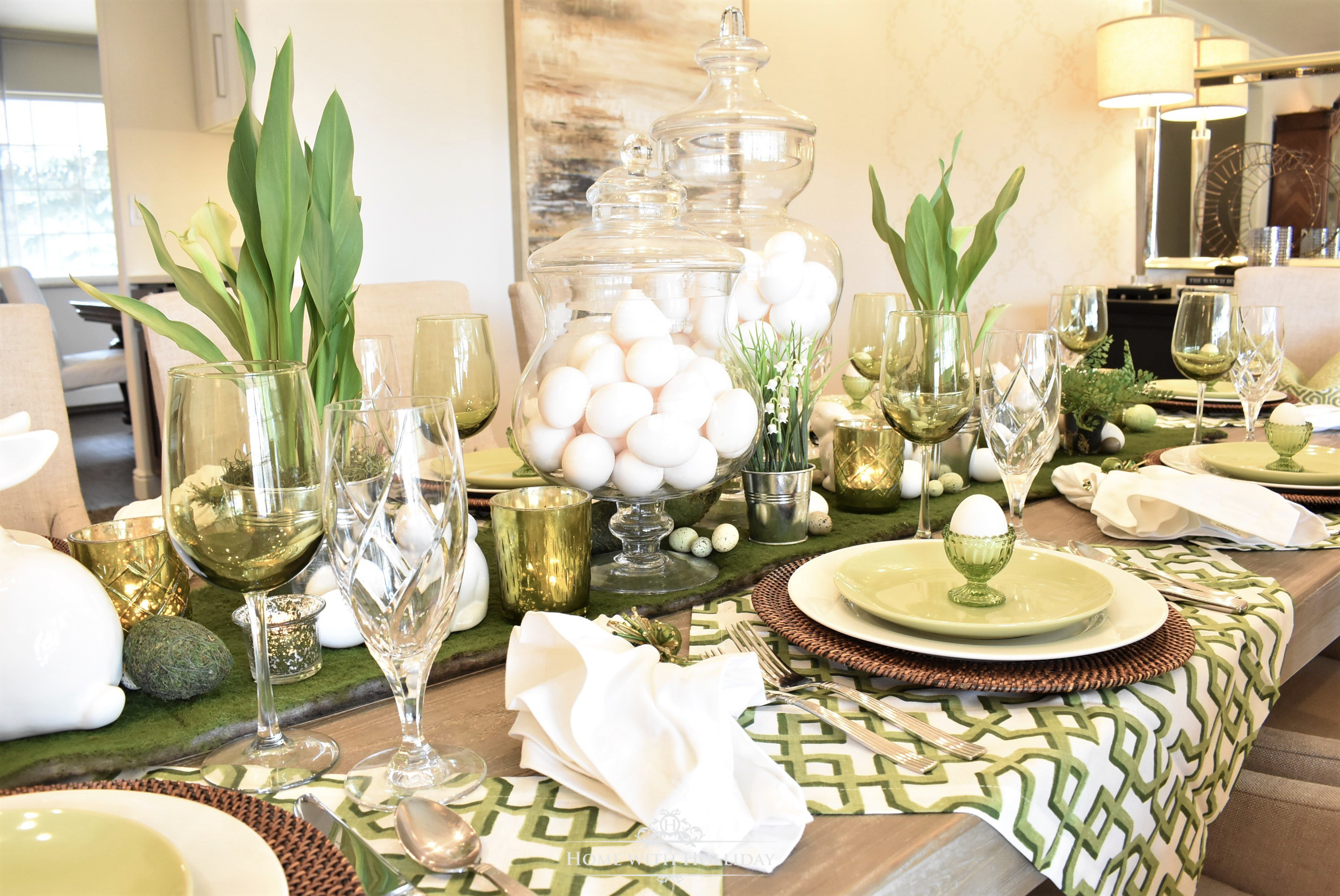 For Easter dinner I like to coordinate all of my tables but let them stand on their own with commonalities to tie them together. For the u201cbig kidu0027s tableu201d ... & Green and White Easter Table Setting - Home with Holliday